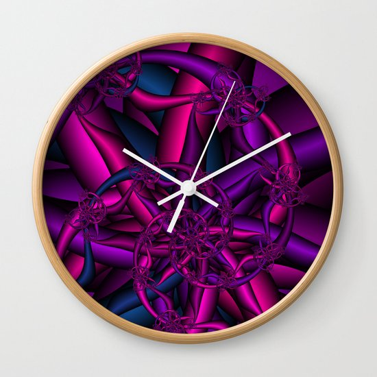 Pink Purple and Blue Wall Clock