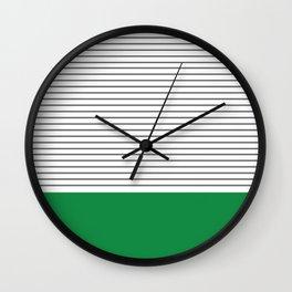 Green Block, Grey Stripe Wall Clock