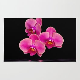 Mystical Pink Orchids Reflections Rug