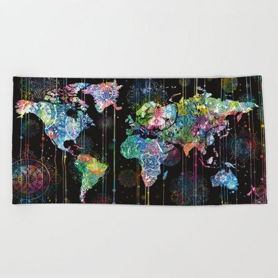 world map mandala black 1 Beach Towel