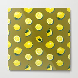 60s Lemon Pattern on Olive Metal Print