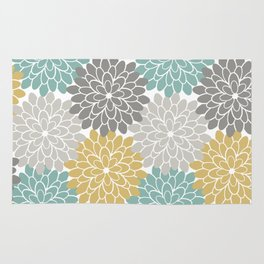 Pastel Petals in Light Amber, Light Opal, Pale and Dark Grey Rug