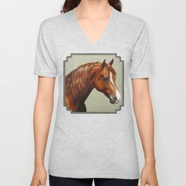 Chestnut Morgan Horse Unisex V-Neck