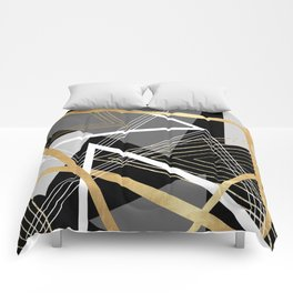 Original Gray and Gold Abstract Geometric Comforters