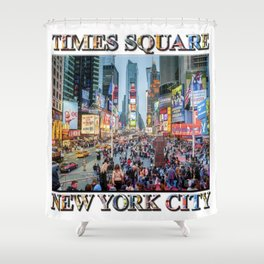 Times Square Tourists (with type) Shower Curtain