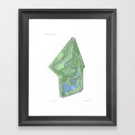 Brooklyn Prospect Park Map (Green) Framed Art Print