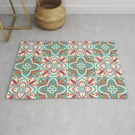 Peranakan Art Nouveau Tiles (Floral Star in Candied Colours) Rug