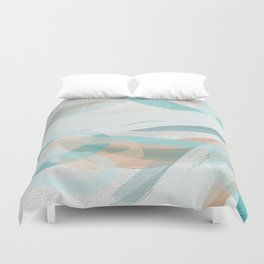 Big Abstract Paint Brush Strokes and Graphic Plaster Patterns Duvet Cover