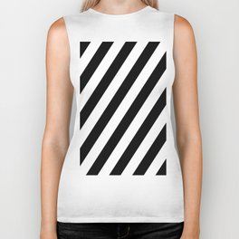 Diagonal Stripes Black & White Biker Tank
