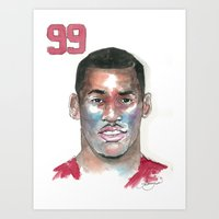 49ers Art Prints featuring Aldon Smith-49ers by Anthonylanza