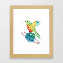 Hummingbird on Saturn Framed Art Print