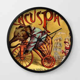 1888 Vintage Circus Elephant Procession Vintage Poster Wall Clock