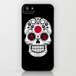 Sugar Skull with Roses and Flag of Japan iPhone Case