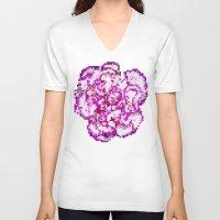 8bit V-neck T-shirts featuring 8BIT flower by Alfredo Lietor