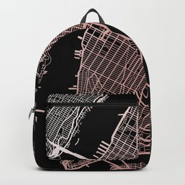 New York City Map - Rose Gold Backpack