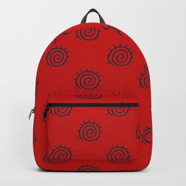Red and Blue Spiral Pattern Backpack