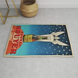 Vintage 1945 Cognac Rouyer Advertisement Poster Rug