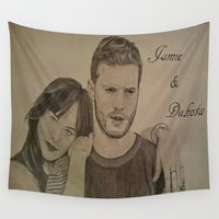 allyson johnson Wall Tapestries featuring DAKOTA JOHNSON - JAMIE DORNAN by Virginieferreux