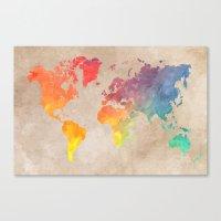 world maps Canvas Prints featuring World Map Maps by jbjart