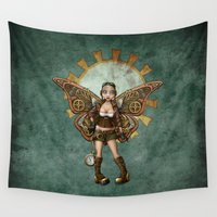 steam punk Wall Tapestries featuring Steam Punk Pilot Faery by Hafapea