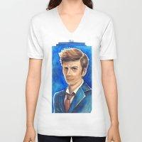 david tennant V-neck T-shirts featuring David Tennant 10th Doctor Who by Tiffany Willis