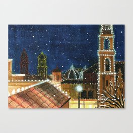 Plaza: Snowy Canvas Print