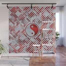 Beautiful Red Metallic Yin yang on mother of pearl Wall Mural