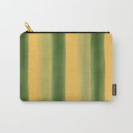 Green and Yellow Gouache Stripes Painted Pattern Carry-All Pouch