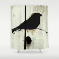 jazzberry Shower Curtains featuring Early Bird - JUSTART © by JUSTART