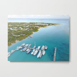 Awesome Aerial Photography of Turks and Caicos Inlet and Marina Metal Print