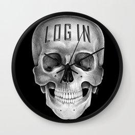 Skull Log in B&W Wall Clock