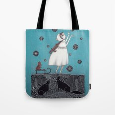 Between the Woods and Frozen Lake Tote Bag