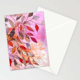 pink branch Stationery Cards