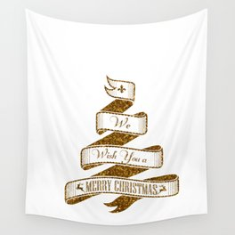 Merry Christmas- Glitter Gold Xmas Typography Wall Tapestry