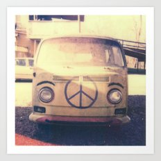 Happy VW Van Polaroid Art Print