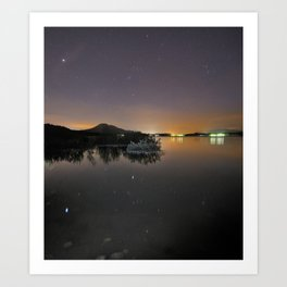 The Big star Sirius the Costelation of Orion and Taurus  reflected at the lake Art Print