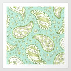Pretty Paisley - Aqua/Green Art Print