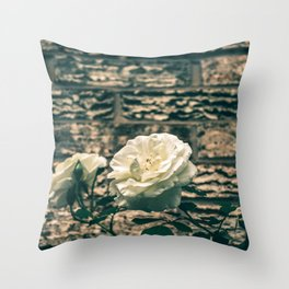 The moody garden flowers Throw Pillow