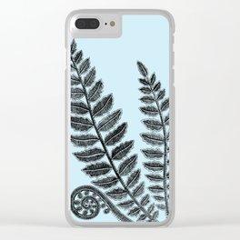 Black Lace Fern Powder Blue Clear iPhone Case
