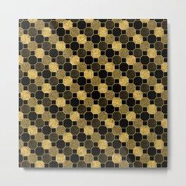 Black and gold geometric pattern Metal Print