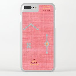 Cactus Silk Pattern in Pink Clear iPhone Case
