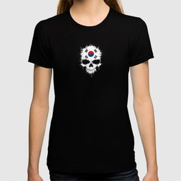 Flag of South Korea on a Chaotic Splatter Skull T-shirt