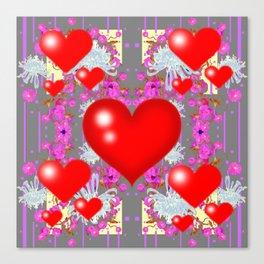 Red Hearts Valentines & Grey-Purple Art Patterns Canvas Print