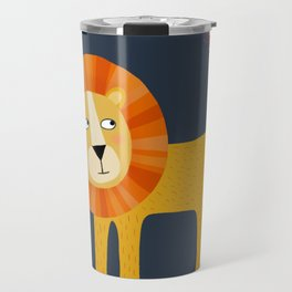Lion Looking at a Butterfly Travel Mug
