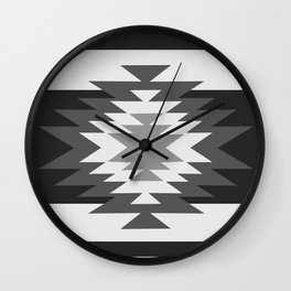 Aztec - black and white Wall Clock