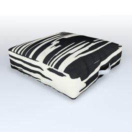 Modern Tribal Stripe Ivory and Black Outdoor Floor Cushion