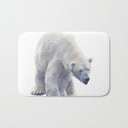 Digital painting of Large Polar bear  on white background. Bath Mat