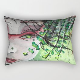 Geisha in Leaves: The Sentimental Concubine Rectangular Pillow