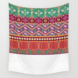 Seamless colorful aztec pattern with birds Wall Tapestry