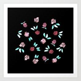 Clover Flowers on Black Art Print